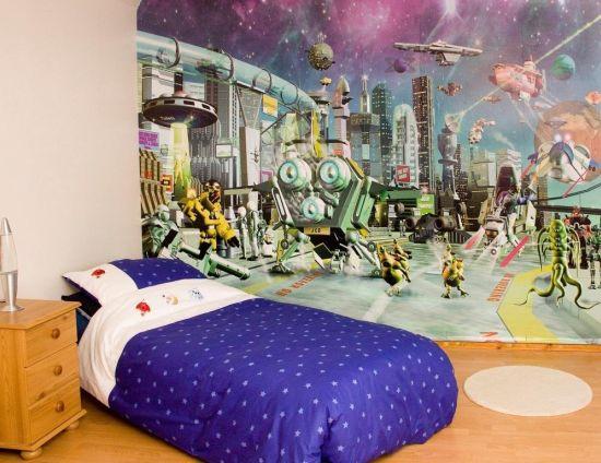 Alien adventure themed wallpaper mural for kid's room