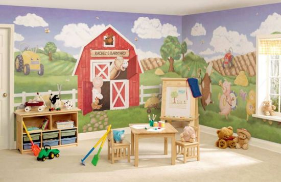 Beautiful farm wall murals for kid's room