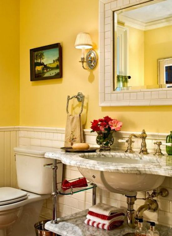 Classy bathroom ideas with cool yellow tones
