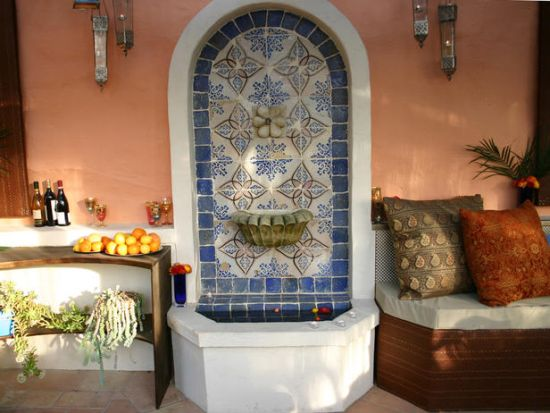 Eclectic Moroccan patio ideas with exotic fountain
