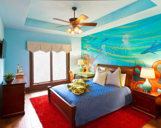 Endearing sea life wall murals for kid's bedroom