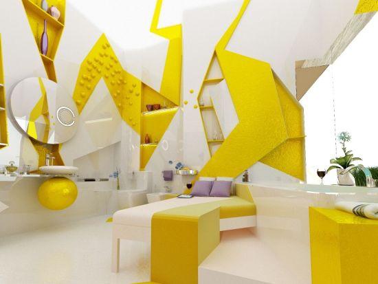 Geometrical yellow bathroom design