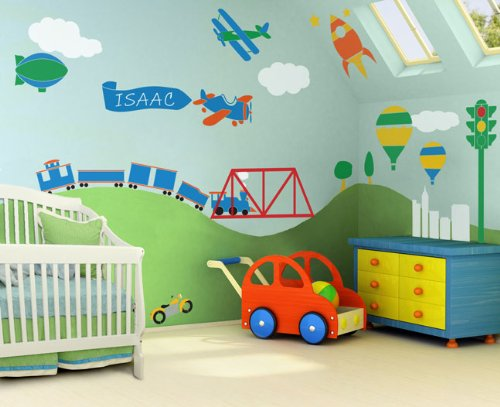 Inspiring colorful wall mural for kids