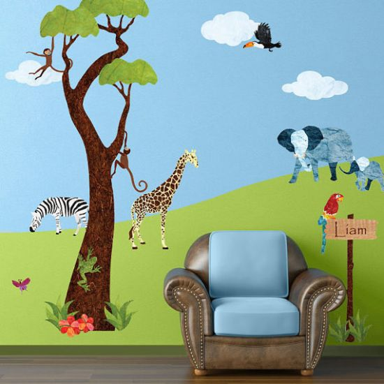 Kid's Jungle themed wall murals