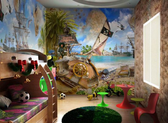 Comkids Rooms Murals : 12. Pirates of the Caribbean themed wall murals for kid's room