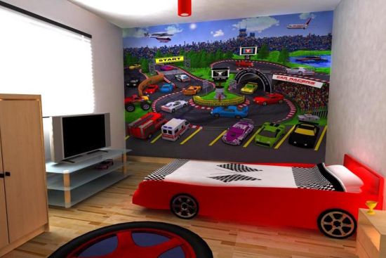 Wall murals depicting car race course for kid's room