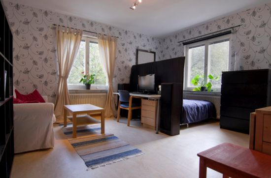 Awesome studio apartment with wall highlights