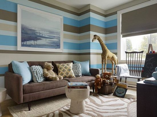 Blue And Brown Striped Bedroom top 15 living rooms with striped walls | ultimate home ideas