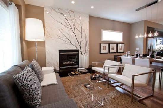 Chic small living rooms with acrylic coffee table