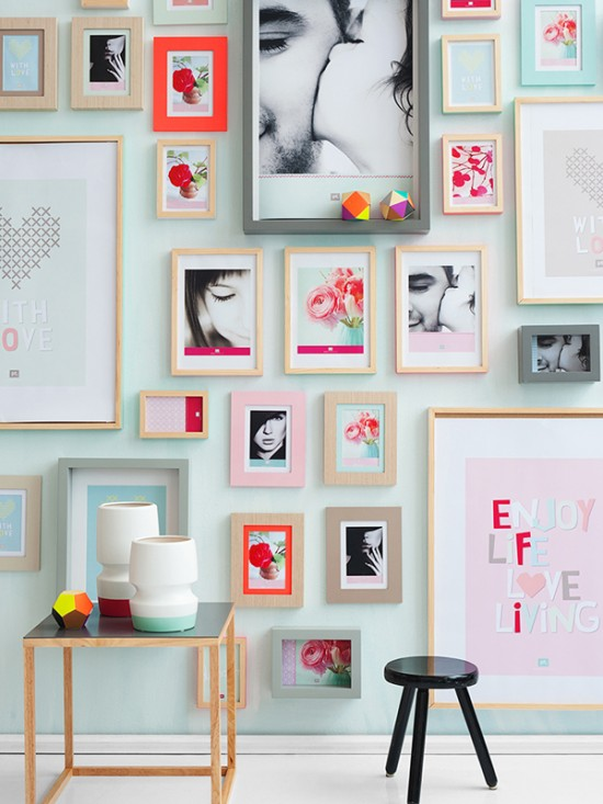 Colorful Gallery with white or light frames