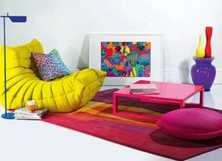 Colourful low seating idea for living room