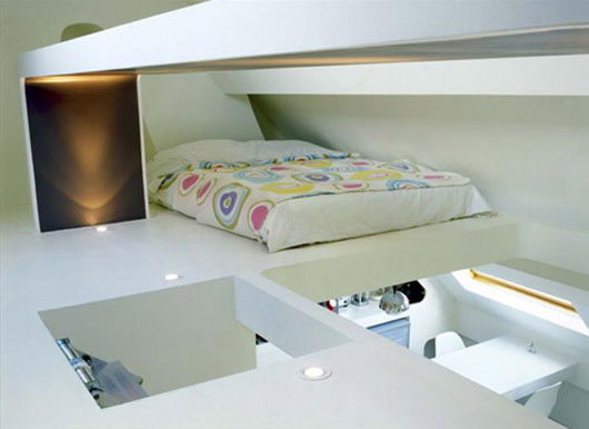 Contemporary small apartment with ceiling bedroom