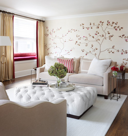 Cool small living room with white and red accents