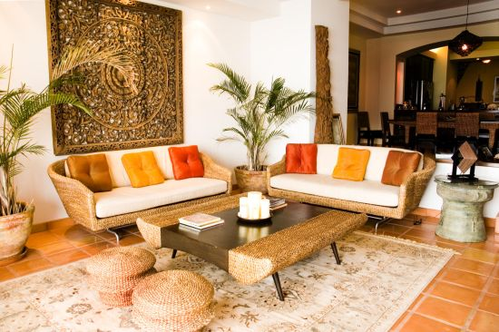 Elegant living room seating with modern Wicker sofa sets and stools