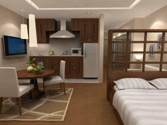 Elegant studio apartment with wooden accents