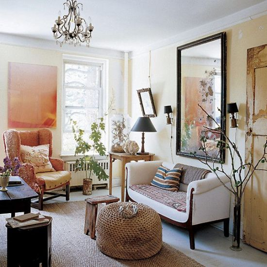 Glamorous small living room with mirror