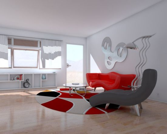 Minimalist living room ideas with swanky red and grey chairs