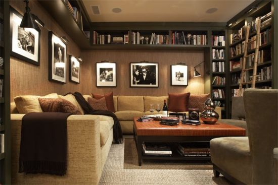 Modern Beige Home Library Design Ideas. Home Library Part 40