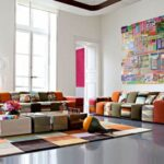 Multicoloured living room seating arrangements