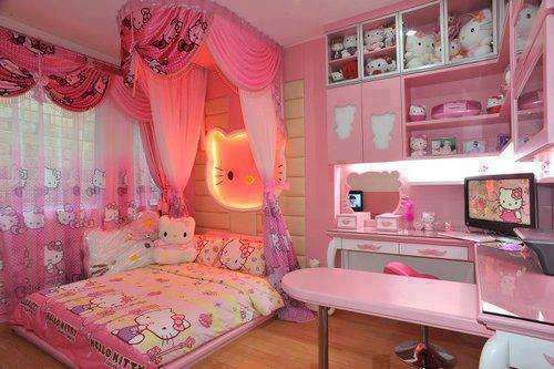 Pink pastel bedroom COVERED with Hello Kitty decor