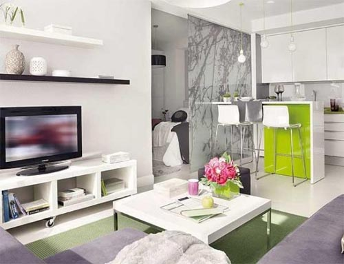 Pretty studio apartment with white and green accents