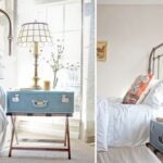 Cute blue suitcase as DIY nightstand