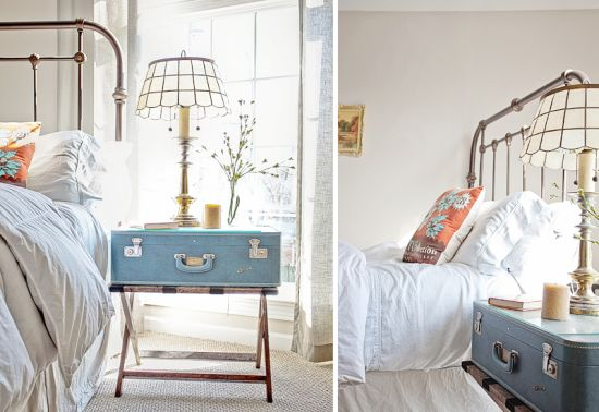 Cute blue suitcase as DIY nightstand - NO.1# THE MOST BEAUTIFUL DIY BEDROOM NIGHTSTAND IDEAS