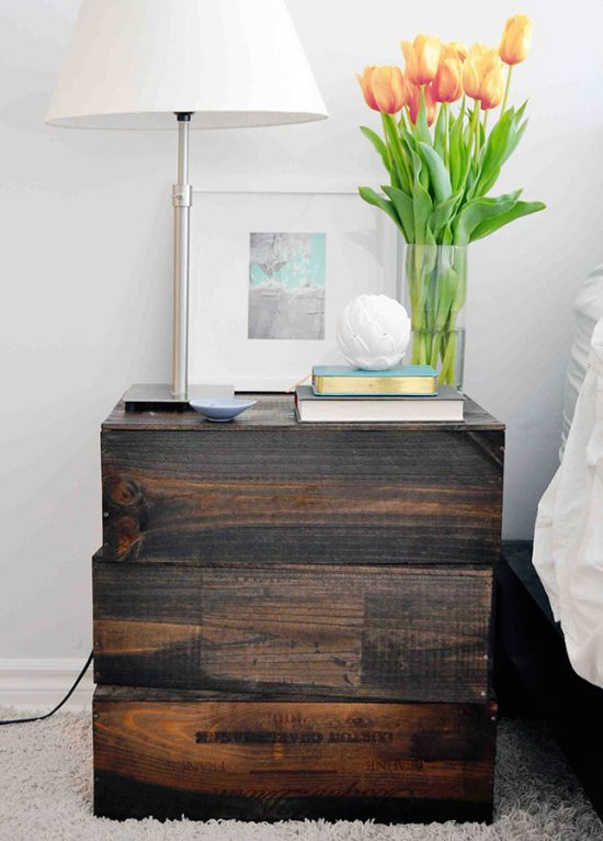 Economical wooden block nightstand idea - NO.1# THE MOST BEAUTIFUL DIY BEDROOM NIGHTSTAND IDEAS