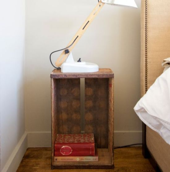 Reusable DIY crate as nightstand - NO.1# THE MOST BEAUTIFUL DIY BEDROOM NIGHTSTAND IDEAS