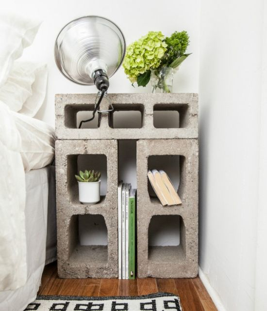 Unique cinder block nightstand - NO.1# THE MOST BEAUTIFUL DIY BEDROOM NIGHTSTAND IDEAS