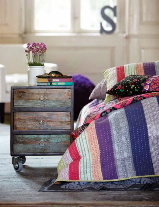 Vintage chest of drawers as nightstand - NO.1# THE MOST BEAUTIFUL DIY BEDROOM NIGHTSTAND IDEAS