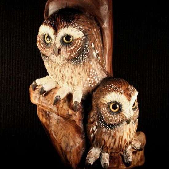 Lovely Wood carving owl wall art Decorating Ideas