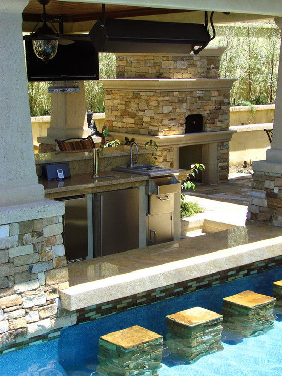 50 backyard swimming pool ideas ultimate home ideas for Outdoor kitchen designs with pool