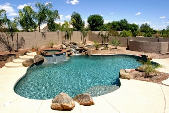 Pool Ideas simple contemporary home with backyard pool and flagstone patio Backyard Swimming Pool Ideas