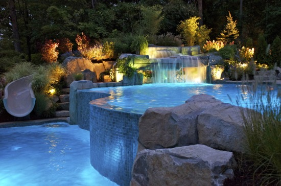 backyard swimming pool ideas - Swimming Pools With Waterfalls And Slide