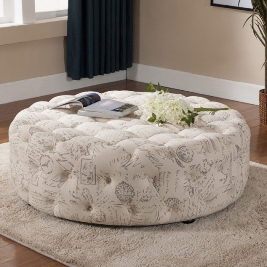 Awesome Cool Tufted Round DIY Coffee Table Ottoman DIY ottoman ideas