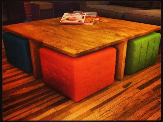DIY Coffee Table And Ottomans. DIY Ottoman Ideas