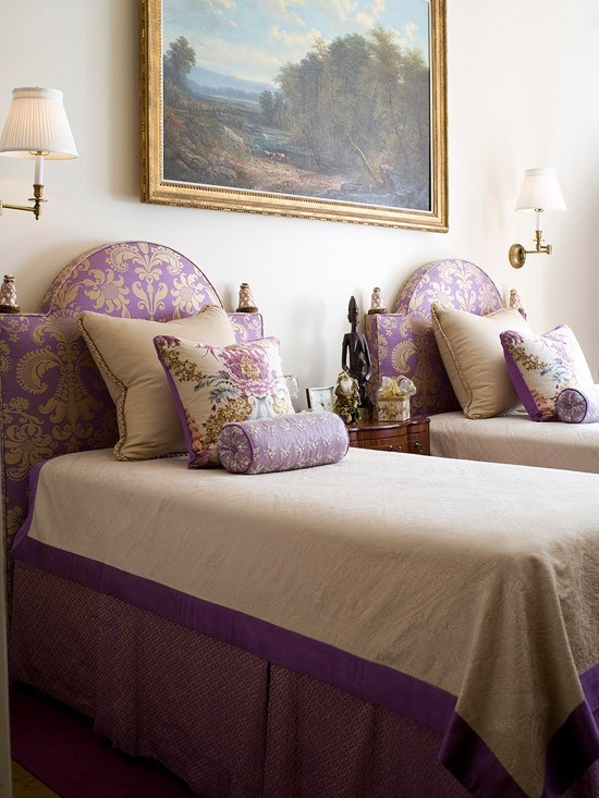 Royal Purple Bedroom Ideas Part - 43: Royal Purple Twin Bed Design. Twin Girls Bedroom Ideas