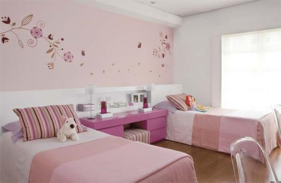 Attractive Purple Teenage Girl Bedroom Ideas #9: Simple-Light-Pink-Bedroom-Design-for-Twin-Girls.jpg