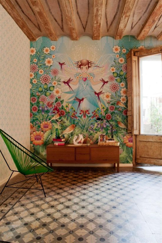 Beautiful fairy and floral wallpaper design