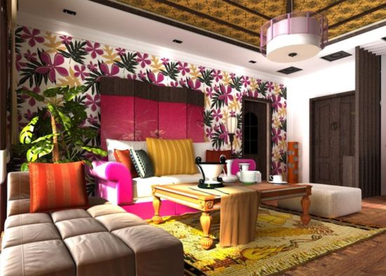 Beautiful woven floral wallpaper design