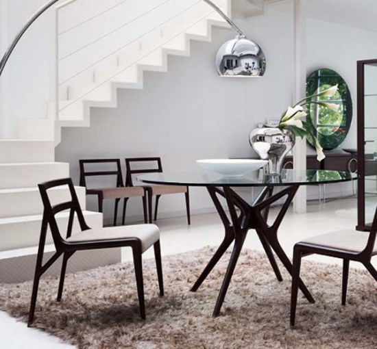 Great Chic Wood and Glass Modern Dining Table