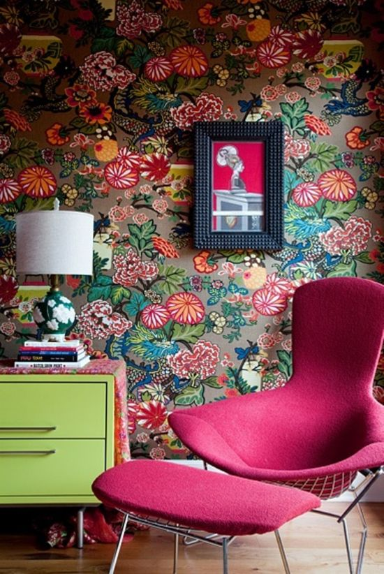 Colorful floral wallpaper design