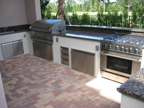 Custom Built Stove, BBQ Grill And Oven For Outdoor Kitchen With Granite  Counter Top
