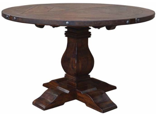 Dark Walnut Wood Contemporary Pedestal Dining Table