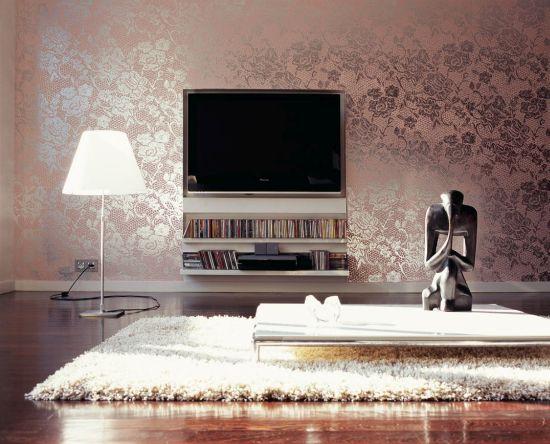 Glamorous pink metallic floral wallpaper design