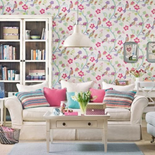 Lively birds and floral wallpaper design