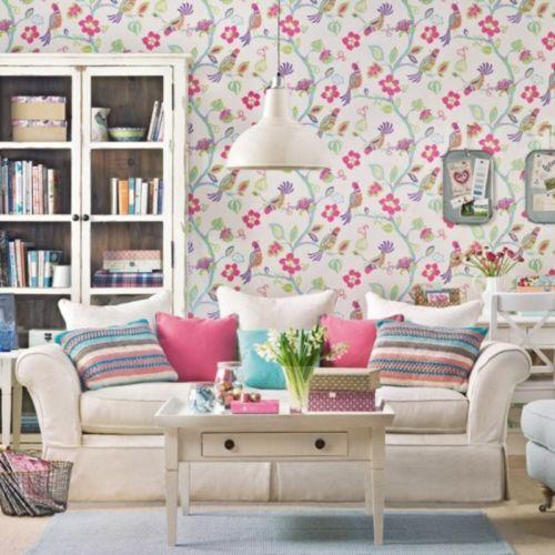Lively birds and floral wallpaper design
