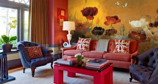 Mesmerizing giant poppy floral wallpaper design