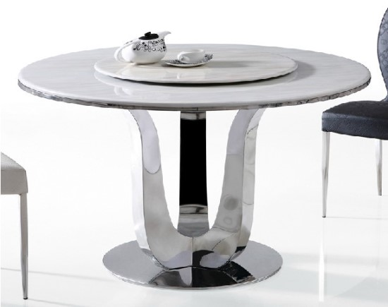 Vintage Modern Steel and Wood Round Dining Table